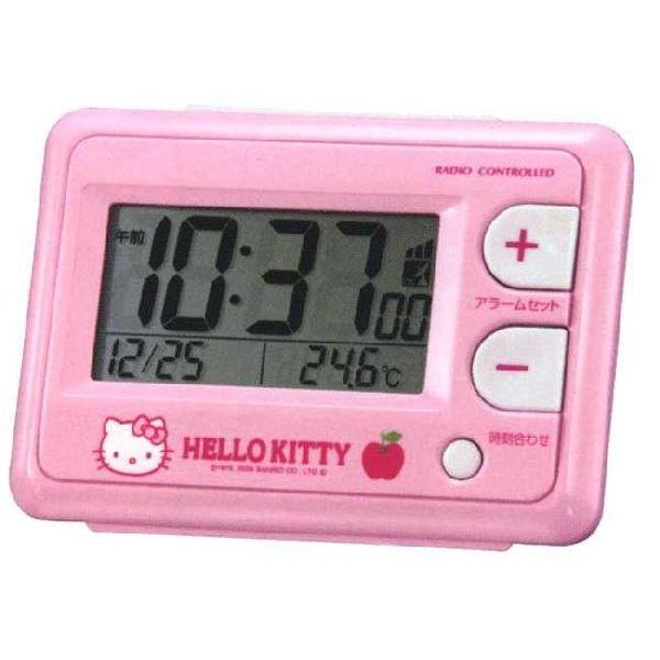 Hello Kitty HELLO KITTY electric wave alarm clock compact alarm clock character clock rhythm clock 8RZ095RH13