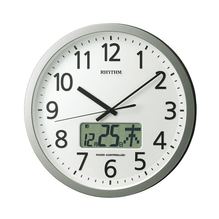 リズム時計 電波時計 4FN405SR19 掛け時計 プログラムカレンダー405SR シルバー シンプル