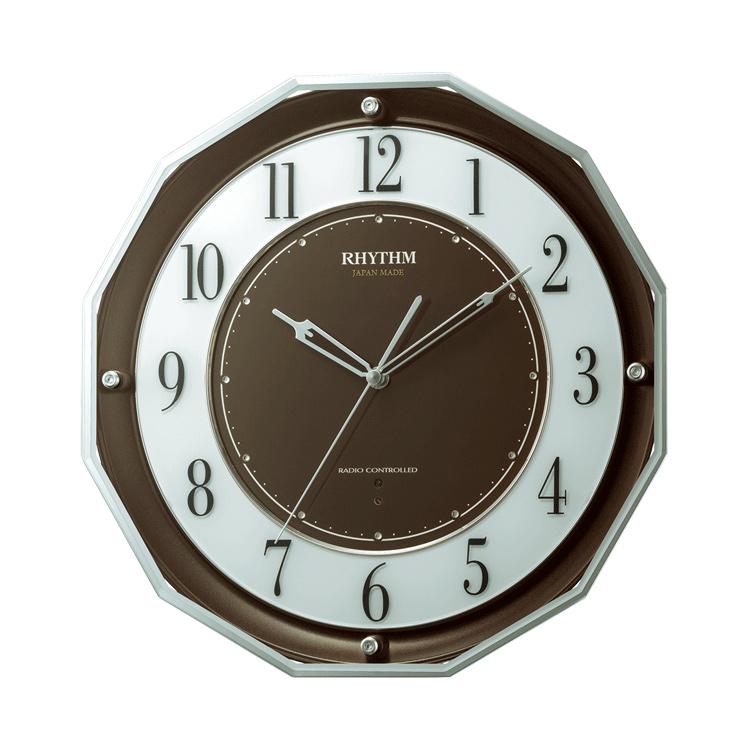 リズム時計 4MY846SR06 3電波対応 電波掛け時計 スリーウェイブM846 電波時計 ブラウン 茶色
