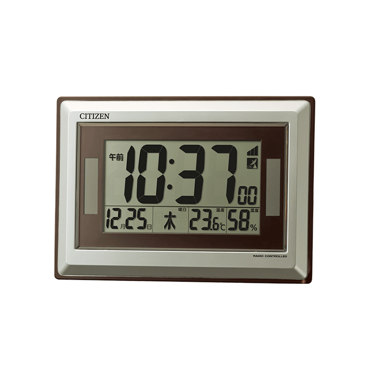 A citizen Citizen rhythm clock 8RZ182-019 electric wave solar clock hook  holder combined use digital thermometer, hygrometer function calendar brown