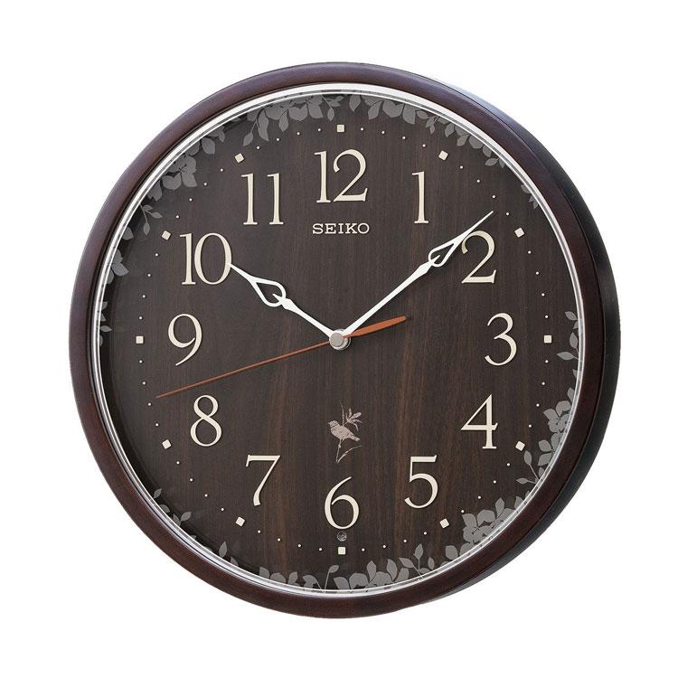 セイコー SEIKO 掛け時計 電波時計 野鳥のさえずり収録 木枠 ブラウン 木目 RX215B インテリア時計 お取り寄せ
