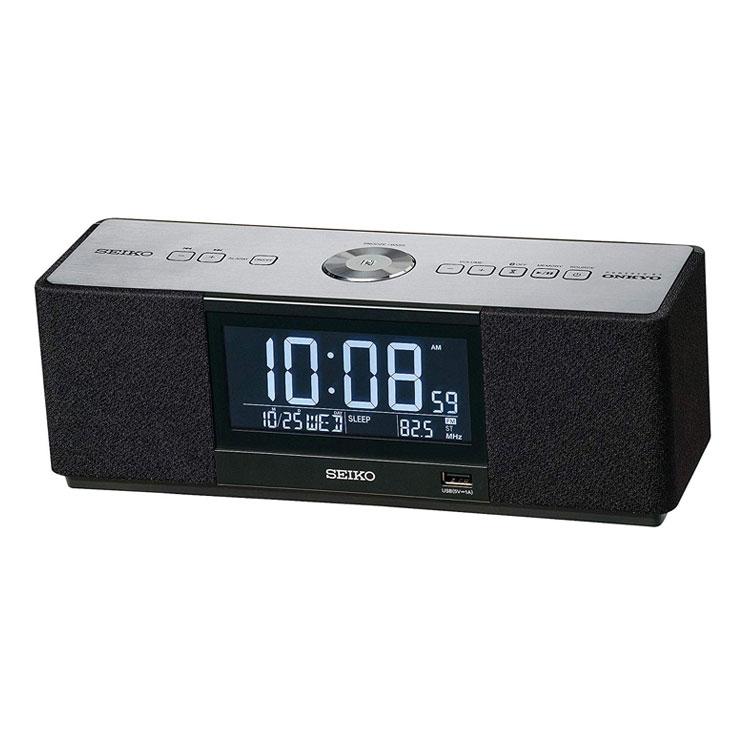 セイコー SEIKO 目覚まし時計 置き時計 マルチサウンドクロック スピーカー Bluetooth スマホ連携 快眠 黒 SS501K インテリア時計 お取り寄せ