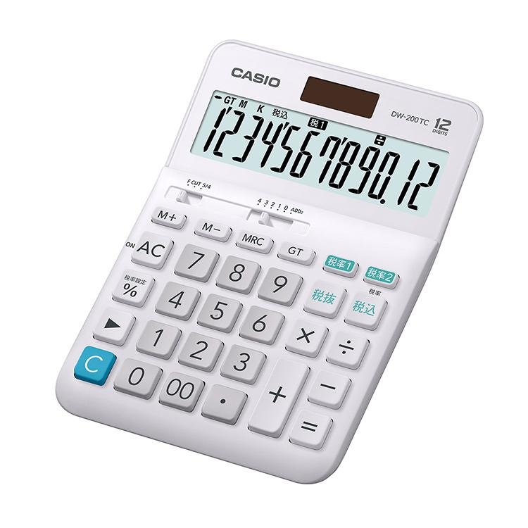 ランキング1位獲得  【スーパーSALE:輸入時計MAX70%OFF!アデッソMAX40%OFF!】W税率電卓 DW-200TC-N カシオ CASIO デスクタイプ 12桁表示 表示部傾斜 2電源 ソーラー プラスチックキー 置き型 電卓