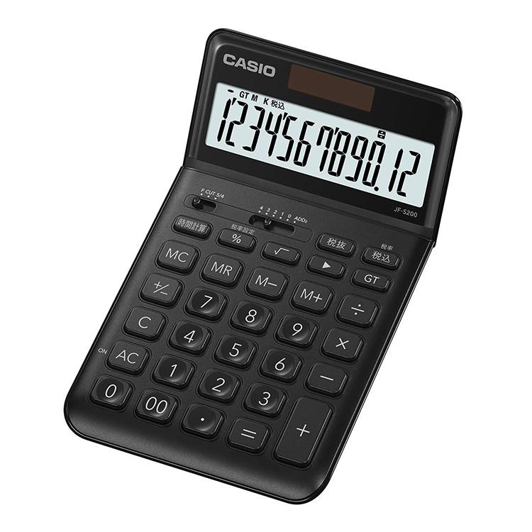 ランキング1位獲得  【スーパーSALE:輸入時計MAX70%OFF!アデッソMAX40%OFF!】スタイリッシュ電卓 JF-S200-BK-N カシオ CASIO ジャストタイプ 税計算 時間計算 真っ黒 ブラック 黒 かっこいい