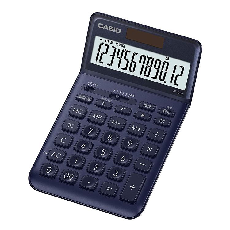 【スーパーSALE:輸入時計MAX70%OFF!アデッソMAX40%OFF!】スタイリッシュ電卓 JF-S200-NY-N カシオ CASIO ジャストタイプ 税計算 時間計算 ネイビー 紺色 おしゃれ