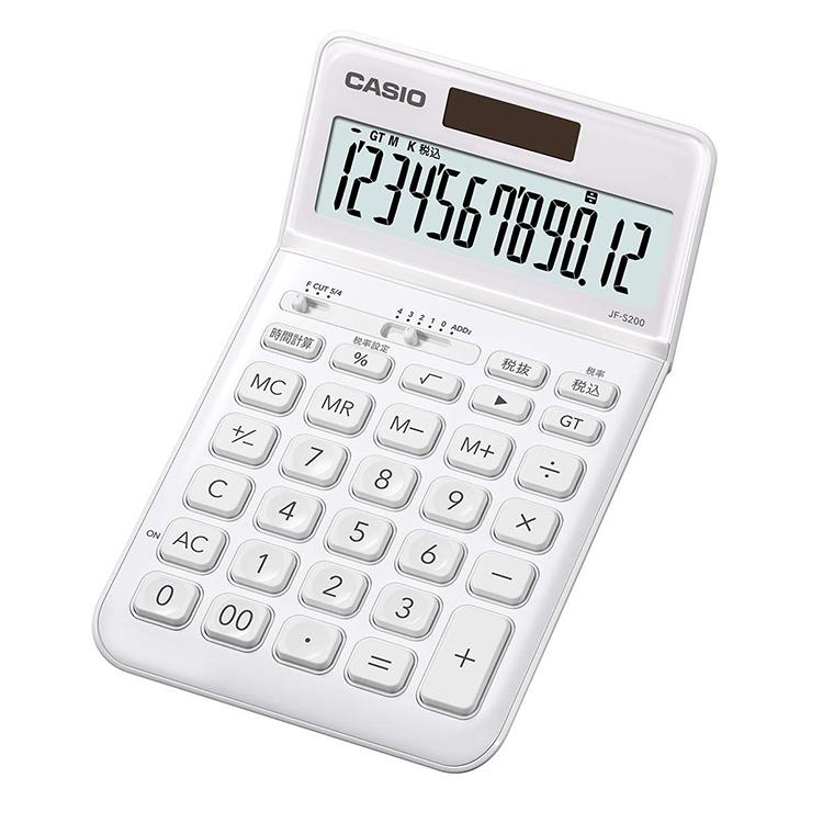 【スーパーSALE:輸入時計MAX70%OFF!アデッソMAX40%OFF!】スタイリッシュ電卓 JF-S200-WE-N カシオ CASIO ジャストタイプ 税計算 時間計算 ホワイト 白 おしゃれ