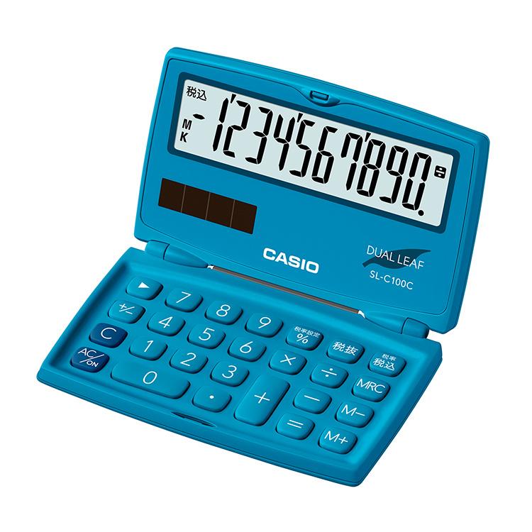 ランキング1位獲得 スーパーSALE:輸入時計MAX70%OFF アデッソMAX40%OFF 折りたたみ電卓 いつでも送料無料 SL-C100C-BU-N カシオ CASIO レイクブルー 青 緑 電卓 折り畳み 2電源 ソーラー 手帳 10桁表示 小型 税計算 二つ折り 実物