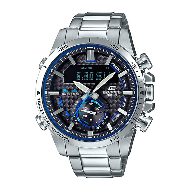 EDIFICE エディフィス ECB-800D-1AJF カシオ CASIO スマホ連携 ソーラー ブルー 黒 ブラック メンズ 腕時計