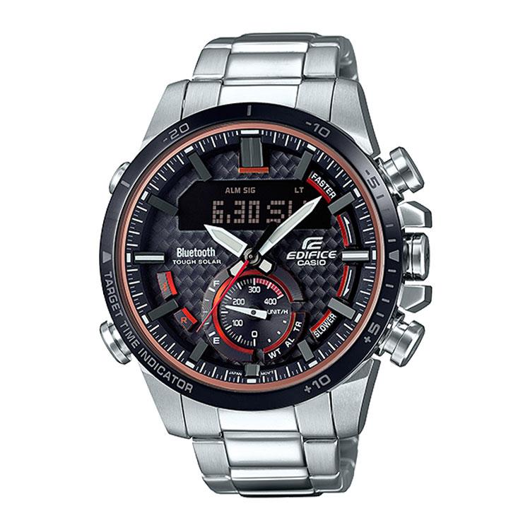 EDIFICE エディフィス ECB-800DB-1AJF カシオ CASIO スマホ連携 ソーラー レッド 黒 ブラック メンズ 腕時計