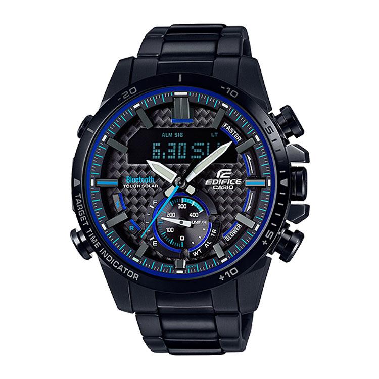 EDIFICE エディフィス ECB-800DC-1AJF カシオ CASIO スマホ連携 ソーラー黒 ブラック ブルー メンズ 腕時計
