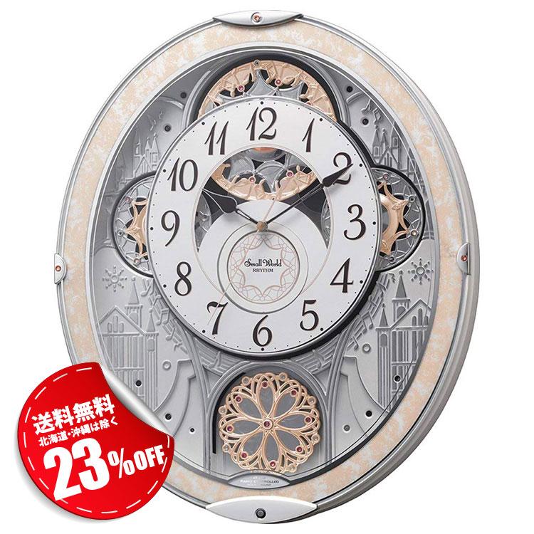 リズム時計 電波時計 掛け時計 電波掛け時計 スモールワールド ノエル NS お姫様 エレガント 8MN407RH03