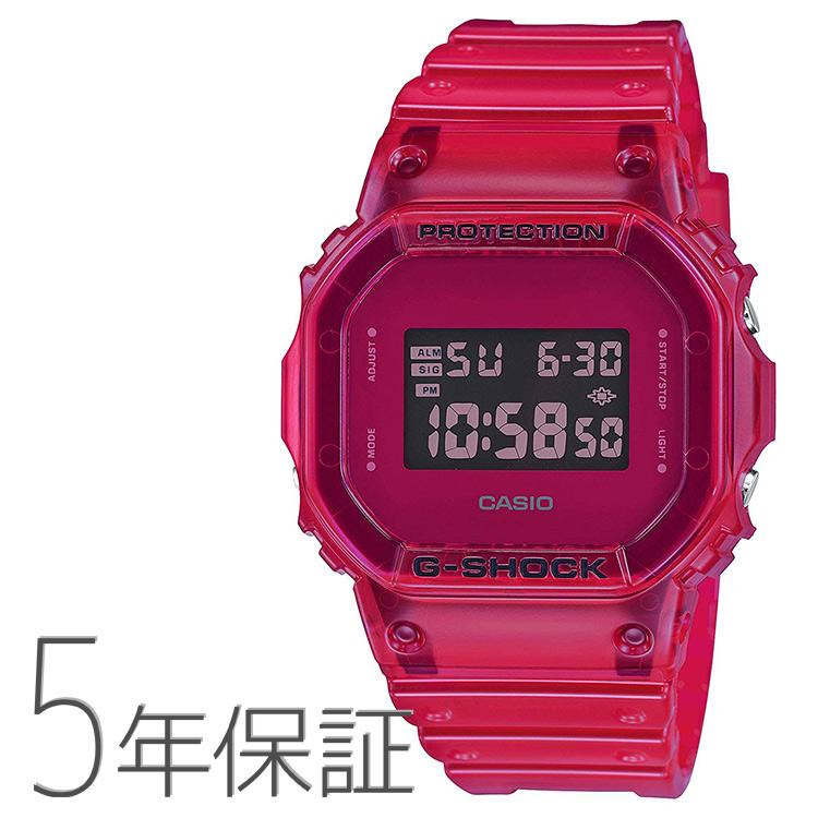 G-SHOCK Gショック DW-5600SB-4JF カシオ CASIO カラースケルトンシリーズ クリア 透明 赤 レッド 腕時計 メンズ