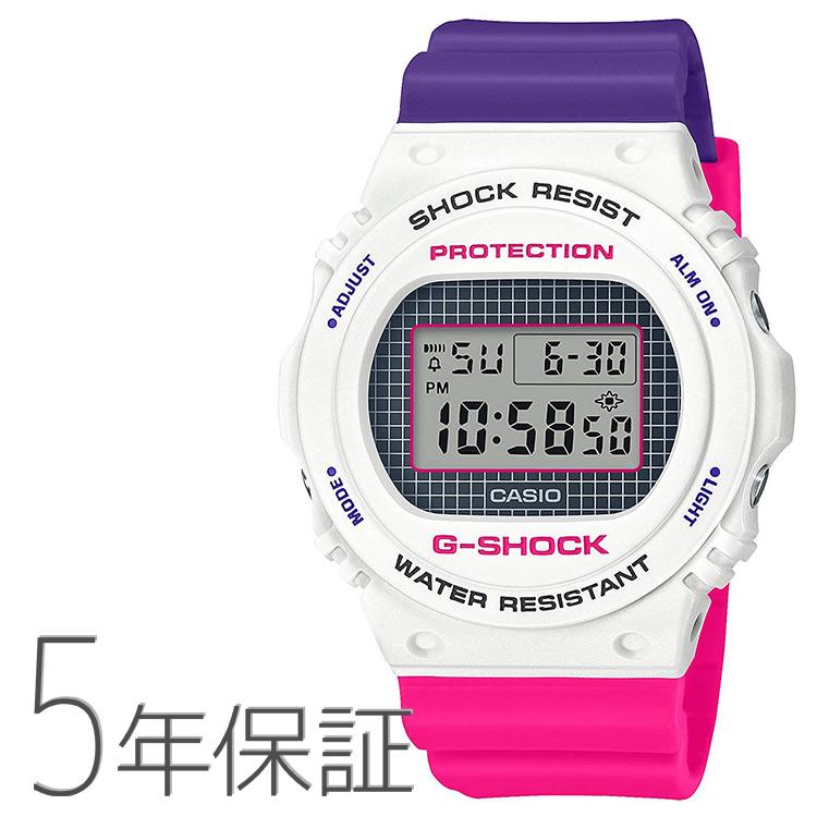 G-SHOCK Gショック DW-5700THB-7JF カシオ CASIO スローバック1990s デジタル 白 ホワイト ピンク 紫 腕時計 メンズ