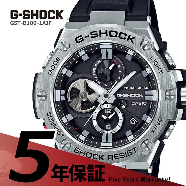 G-SHOCK g-shock Gショック GST-B100-1AJF カシオ CASIO G-STEEL Gスチール スマートフォンリンク機能搭載 クロノグラフ 黒 ブラック メンズ 腕時計
