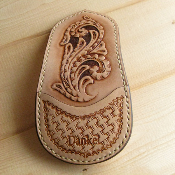 Hold a name made of genuine leather leather coin case coin purse wallet leather; carved seal DAN-C01C