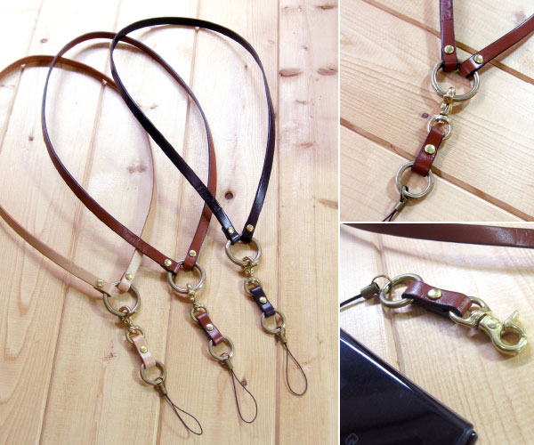 Handmade leather neck holder 職人技 is valid! The neck strap carrying and the key and the office ID are reliable with one this! DAN-K30fs3gm made by cowhide
