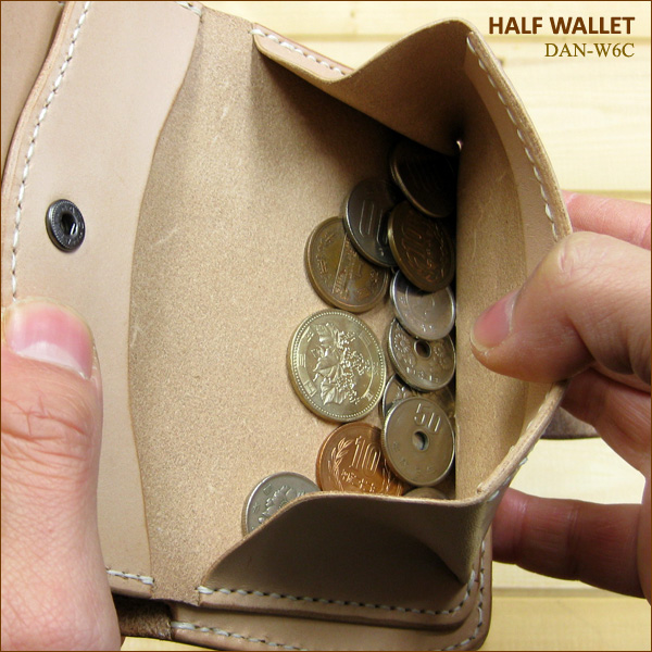 Handmade leather cowhide (saddle leather) 使用職人技 is valid! Two half wallets fold wallet DAN-W6Cfs3gm