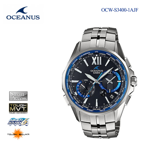 Five years guarantee Casio CASIO Osh losses electric wave solar solar radio  time signal watch men OCW-S3400-1AJF