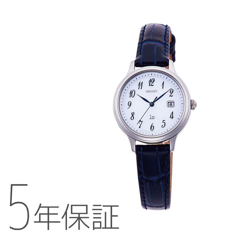 オリエント イオ ORIENT iO ナチュラル&プレーン ライトチャージ 光充電 ネイビー 紺色 革バンド RN-WG0009S レディース 腕時計