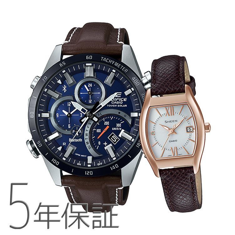 Pair Watch Edifice Sheen エディフィスシーンペア Watch Brown Leather Band Brown Genuine Leather Eqb 501xbl 2ajf Shs 4501pgl 7ajf Casio Casio Kpair0062