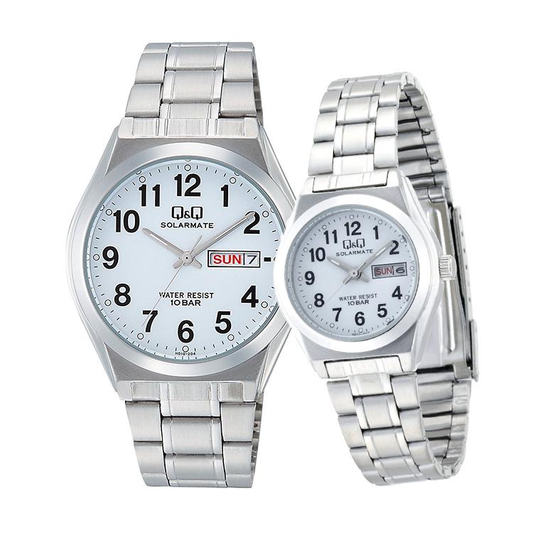 ペアウォッチ ペアセット Q&Q ペア 腕時計 アナログ ステンレスバンド 10気圧防水 アラビア数字 キューアンドキュー H010-204/H011-204 シチズン 取り寄せ SPAIR0060