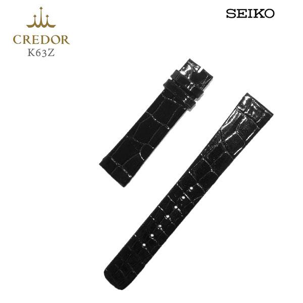 SEIKO セイコー CREDOR クレドール 紳士用 純正バンド 黒 ブラック クロコダイル カン幅:17mm 替えバンド K63Z 取り寄せ