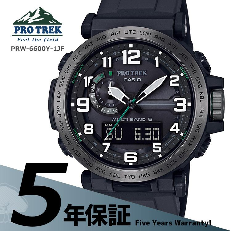 76acc3f952 カシオCASIOプロトレックPROTREKPROTREKソーラー電波タフソーラー黒腕時計メンズPRW-6600Y-