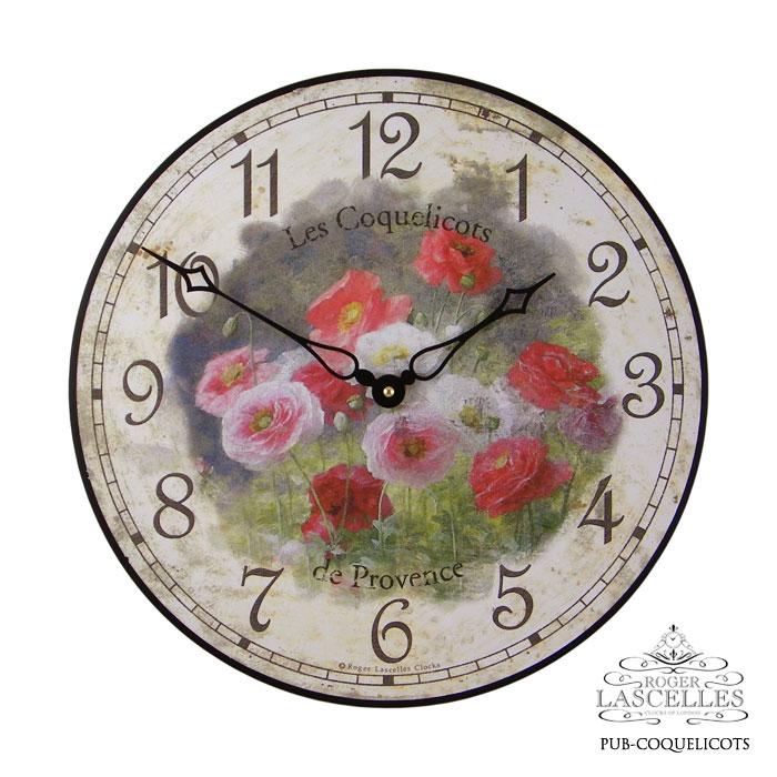 Roger Lascelles ロジャー・ラッセル イギリス発 掛け時計 掛時計 クラシックテイスト フラワークロック RL- PUB-COQUELICOTS ひなげし柄