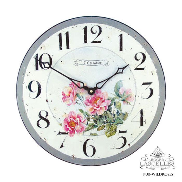 Roger Lascelles ロジャー・ラッセル イギリス発 掛け時計 掛時計 クラシックテイスト フラワークロック RL-PUB-WILDROSES ワイルドローズ柄