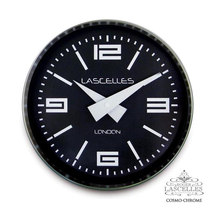 Roger Lascelles ロジャー・ラッセル イギリス製 デザイナーズ モノトーン 掛け時計 黒 ブラック 海外製 インポート ロジャーラッセル COSMO-CHROME