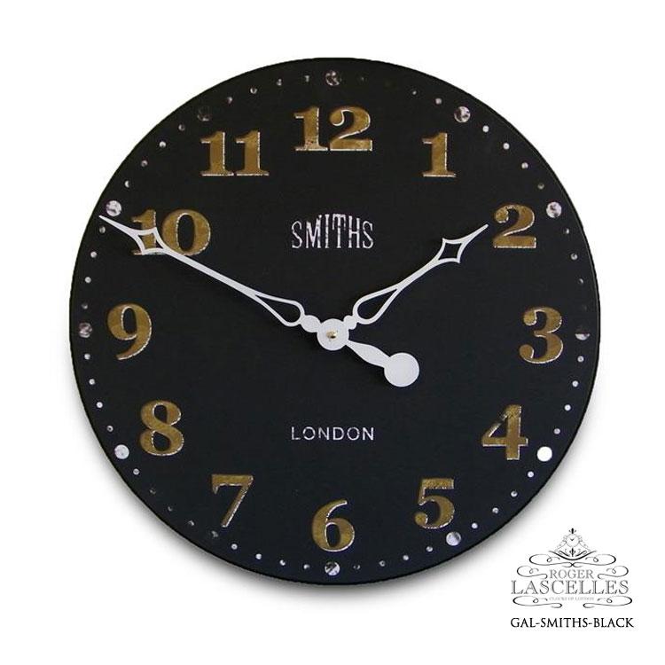 Roger Lascelles ロジャー・ラッセル イギリス製 スミスクロック 黒い文字盤 掛け時計 大型 ヴィンテージ風 海外製 インポート ロジャーラッセル GAL-SMITHS-BLACK