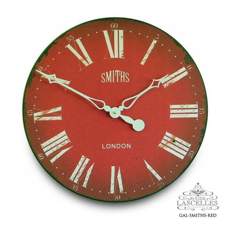 Roger Lascelles ロジャー・ラッセル イギリス製 スミスクロック 赤い文字盤 掛け時計 大型 ヴィンテージ風 海外製 インポート ロジャーラッセル GAL-SMITHS-RED