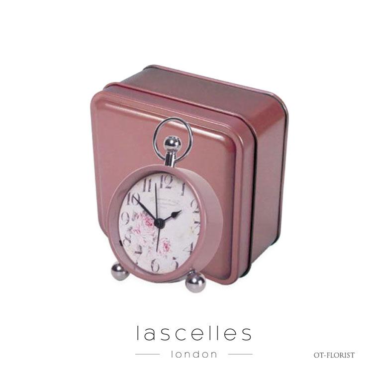 Roger Lascelles ロジャー・ラッセル イギリス製 クラシック バラ模様 ピンク 箱入り 置時計 海外製 インポート ロジャーラッセル OT-FLORIST
