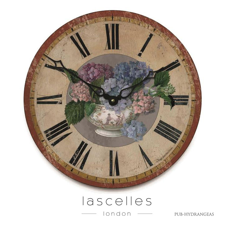 Roger Lascelles ロジャー・ラッセル イギリス製 ヴィンテージ風 アジサイ 掛け時計 シャビー 海外製 インポート ロジャーラッセル PUB-HYDRANGEAS