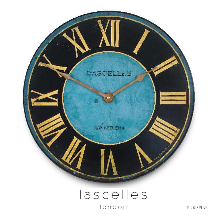 Roger Lascelles ロジャー・ラッセル イギリス製 ヴィンテージ風 塔時計デザイン 掛け時計 青 ブルー シャビー 海外製 インポート ロジャーラッセル PUB-SPIRE