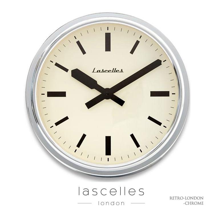 Roger Lascelles ロジャー・ラッセル イギリス製 インダストリアル クローム 深さ10センチケース 掛け時計 シンプル 海外製 インポート ロジャーラッセル RETRO-LONDON-CHROME