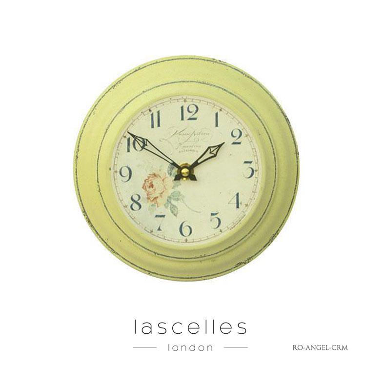 Roger Lascelles ロジャー・ラッセル イギリス製 ヴィンテージ風 バラ柄 掛け時計 シャビー 小型 黄色 海外製 インポート ロジャーラッセル RO-ANGEL-CRM