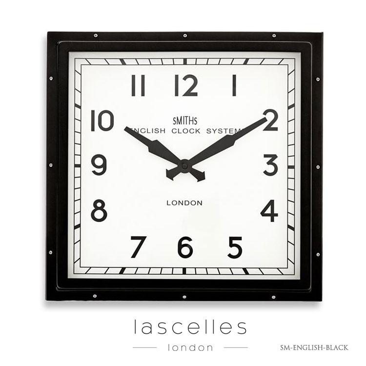 Roger Lascelles ロジャー・ラッセル イギリス製 スミスクロック 四角フレーム 黒 アラビア数字 掛け時計 レトロ 海外製 インポート ロジャーラッセル SM-ENGLISH-BLACK