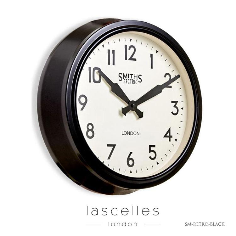 Roger Lascelles ロジャー・ラッセル イギリス製 スミスクロック デザイナーズ 黒 ブラック 掛け時計 レトロ 海外製 インポート ロジャーラッセル SM-RETRO-BLACK