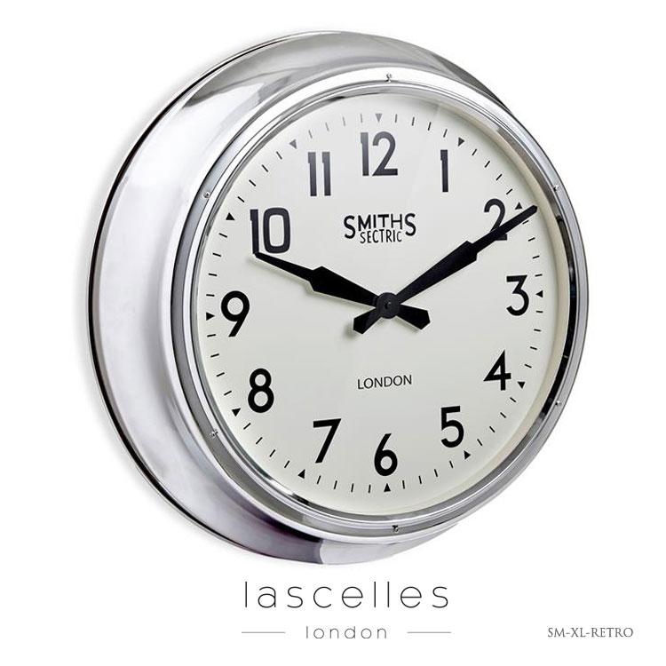 Roger Lascelles ロジャー・ラッセル イギリス製 スミスクロック 大型 クローム 掛け時計 レトロ 海外製 インポート ロジャーラッセル SM-XL-RETRO