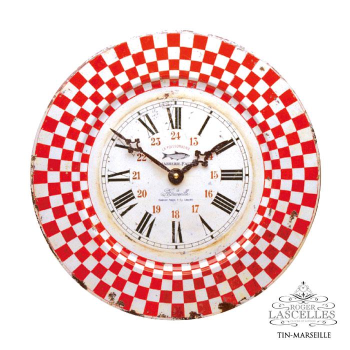 Roger Lascelles ロジャー・ラッセル イギリス製 ブリキ 掛け時計 マルセーユ マルセイユ 赤 レッド チェック柄 RL-TIN-MARSEILLE 掛時計 イギリス製