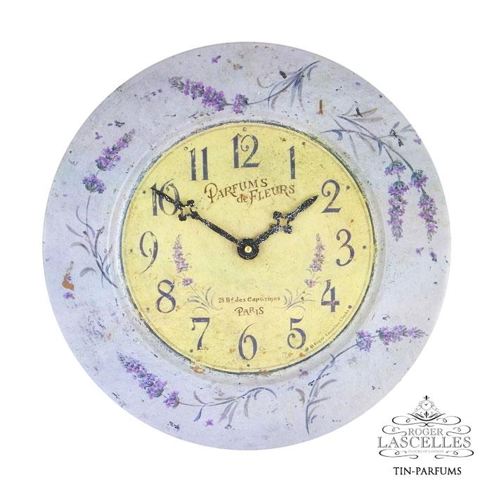 ブリキ 掛け時計 パフューム ラベンダー 香水 紫色 パープル バイオレット RL-TIN-PARFUMS 掛時計 イギリス製