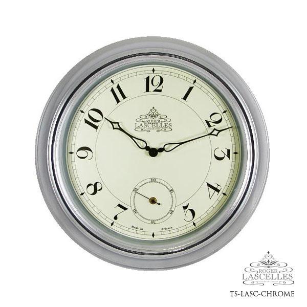 Roger Lascelles ロジャー・ラッセル イギリス製 掛け時計 ステーションクロック メタル 銀色 シルバー 海外製 インポート ロジャーラッセル RL-TS-LASC-CHROME