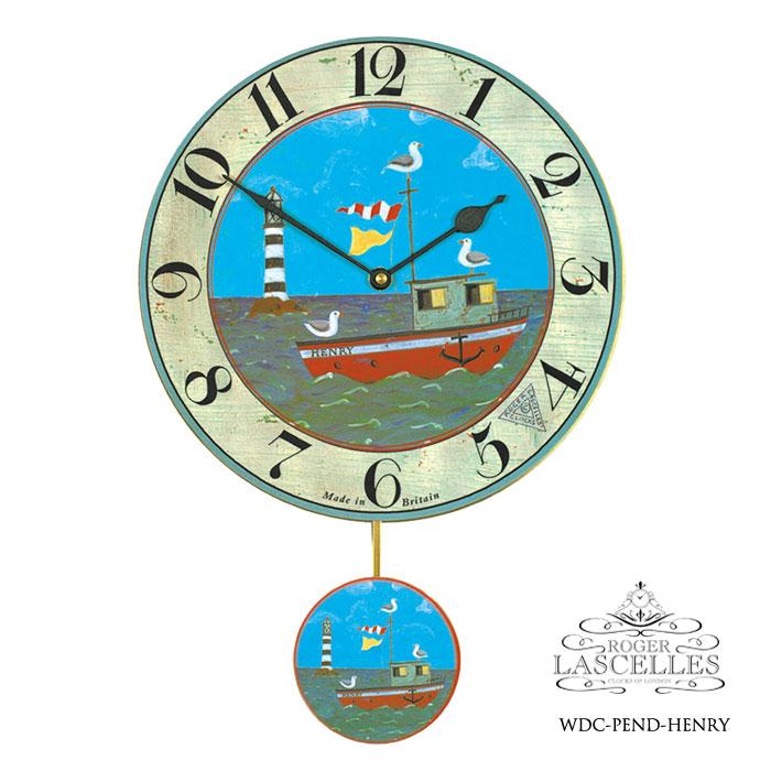 Roger Lascelles ロジャー・ラッセル イギリス製 振り子時計 掛け時計 ヘンリーのボート 子供部屋 青 ブルー 海外製 インポート ロジャーラッセル RL-WDC-PEND-HENRY