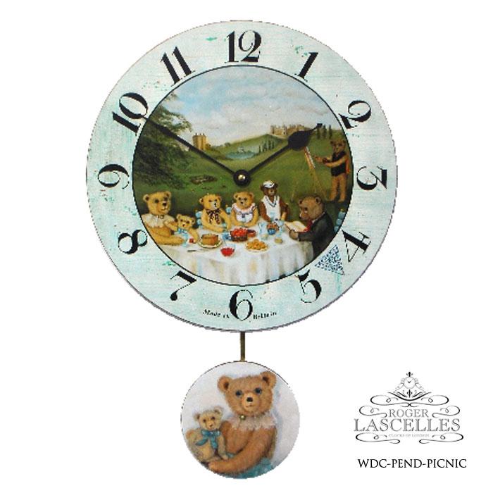 Roger Lascelles ロジャー・ラッセル イギリス製 振り子時計 掛け時計 くまのピクニック 子供部屋 水色 熊 赤ちゃん 海外製 インポート ロジャーラッセル RL-WDC-PEND-PICNIC