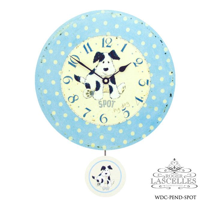 Roger Lascelles ロジャー・ラッセル イギリス製 振り子時計 掛け時計 水玉と犬 子供部屋 水色 ブルー 赤ちゃん 海外製 インポート ロジャーラッセル RL-WDC-PEND-SPOT