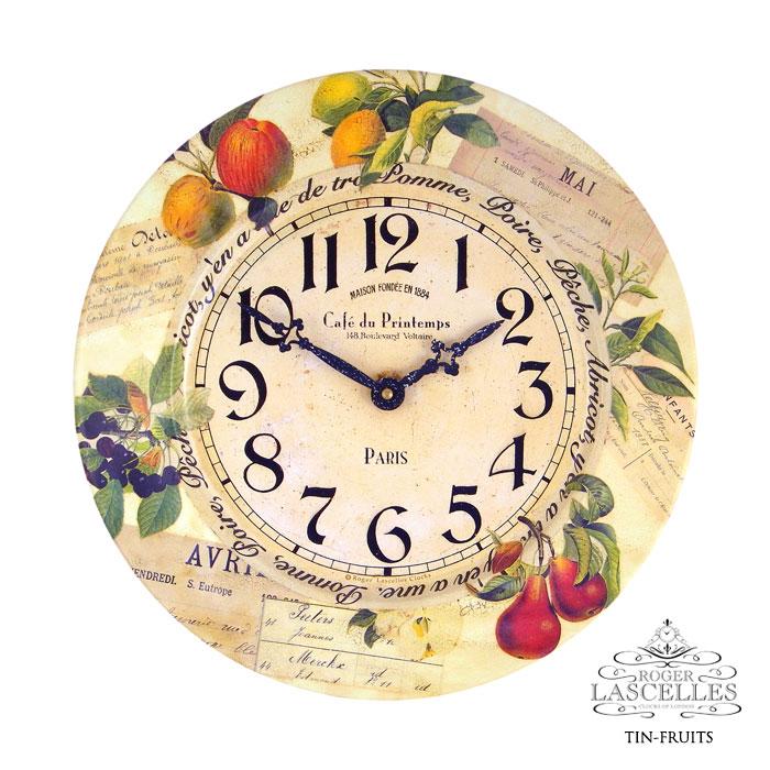 Roger Lascelles ロジャー・ラッセル イギリス発 ブリキの掛け時計 掛時計 クラシックテイスト フルーツ柄 クロック RL-TIN-FRUITS