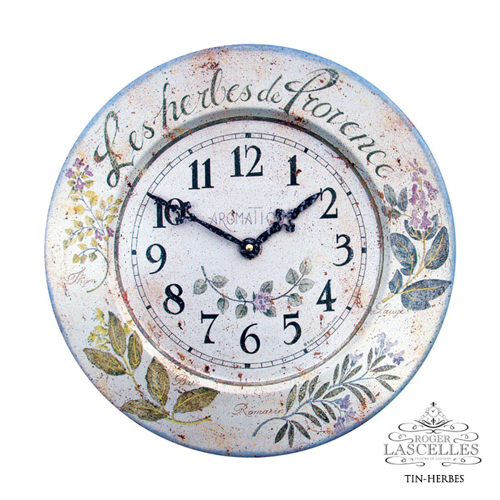 Roger Lascelles ロジャー・ラッセル イギリス発 ブリキの掛け時計 掛時計 クラシックテイスト ハーブ柄 クロック RL-TIN- HERBES