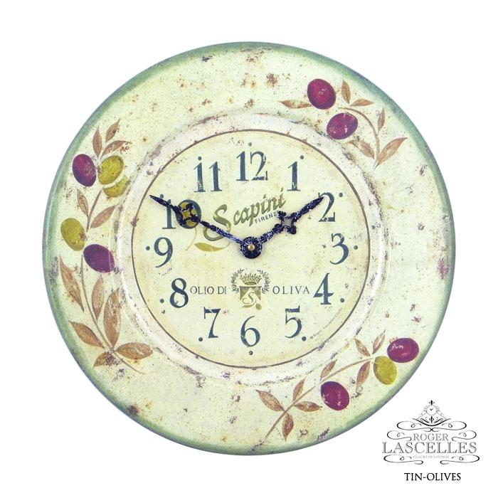 イギリス Roger Lascelles ロジャー・ラッセル ブリキの掛け時計 掛時計 クラシックテイスト オリーブ柄 クロック RL-TIN- OLIVES