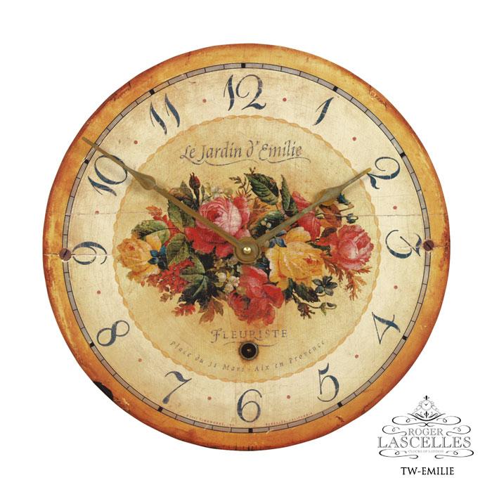 Roger Lascelles ロジャー・ラッセル イギリス発 掛け時計 掛時計 クラシックテイスト フラワークロック RL-TW- EMILIE エミリエ柄